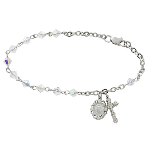 Sterling Silver Rosary Bracelet With Clear Swarovski Crystal Beads