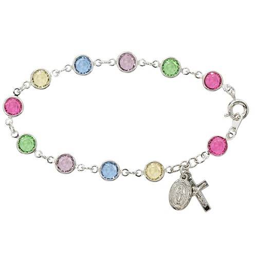 Sterling Silver Rosary Bracelet with Multi Color Austrian Crystal Beads - Multi-Color