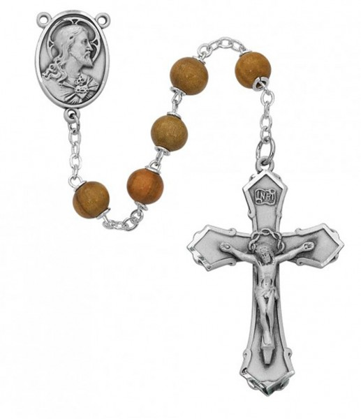 Sterling Silver Sacred Heart Rosary - Brown