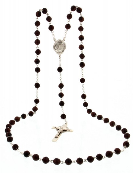 Men's Sterling Silver Scapular Rosary with Coco Beads - Brown