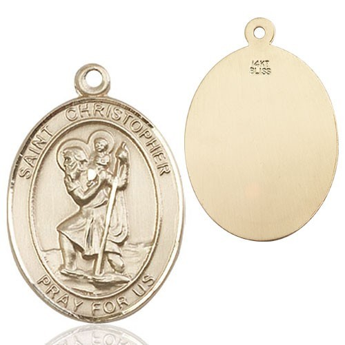 St. Christopher Oval Medal - 14K Solid Gold
