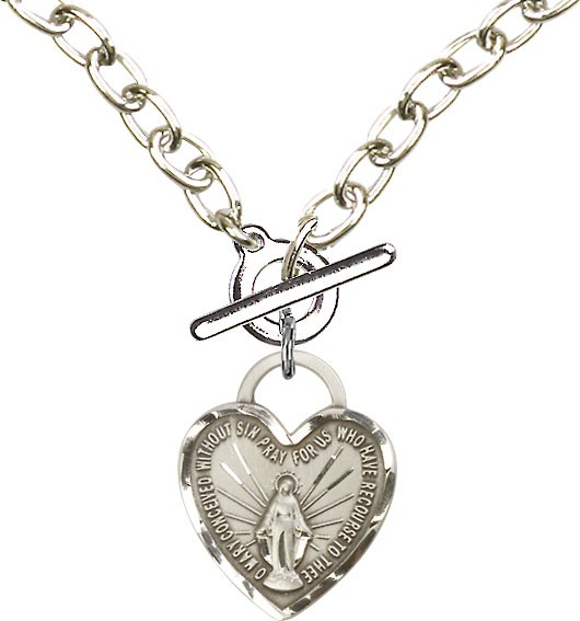 Sterling Silver Toggle Necklace with Miraculous Heart Medal - Sterling Silver