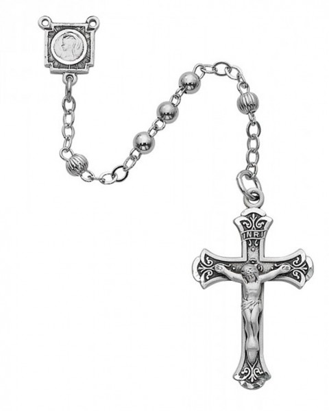 Sterling Silver Women's Fluted Bead Rosary - Silver