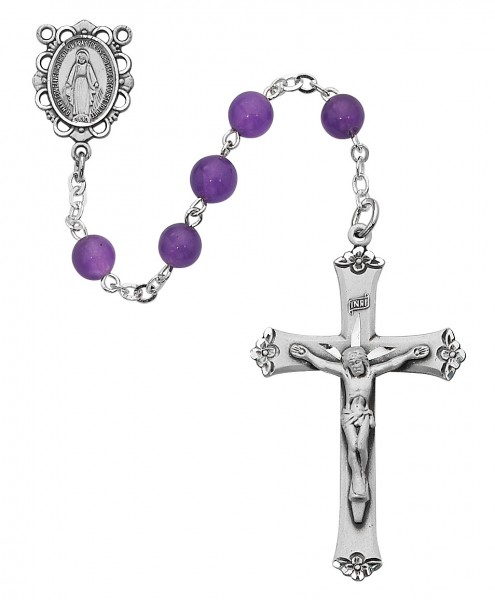 Sterling Silver with Genuine Amethyst Bead Rosary - Amethyst