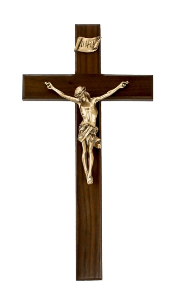"Straight Edge Walnut Wall Crucifix with Antique Gold Finish Corpus 15"" - Brown"