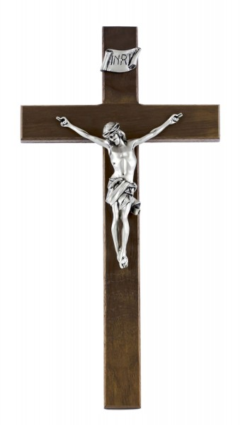 "Straight Edge Walnut Wall Crucifix with Pewter Corpus 15"" - Brown"