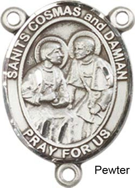 Sts. Cosmas & Damian Rosary Centerpiece Sterling Silver or Pewter - Pewter