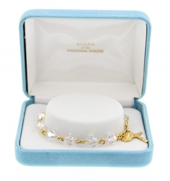 Swarovski Rosary Bracelet with Gold Plated Charms - Clear