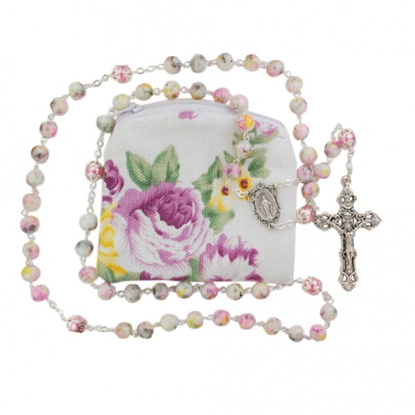 Sweet Mary Rosary Beads and Pouch Set - Pink