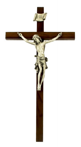 "Tall Slim Line Walnut Wall Crucifix with Antique Pewter Finish Corpus 15"" - Brown"