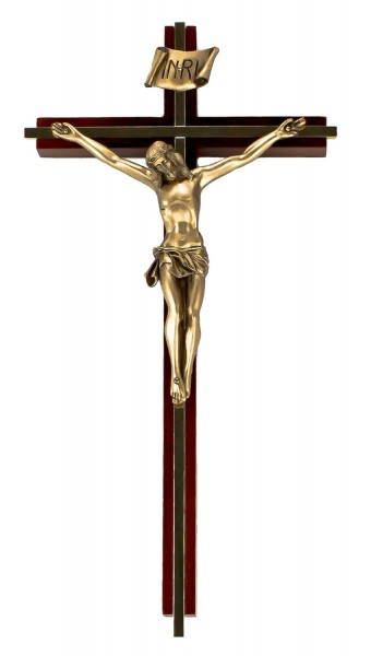 "Tall Walnut Wall Crucifix with Gold-Plated Inlay and Antique Gold Finish Corpus 12"" - Brown"