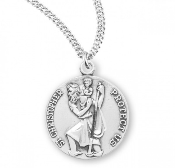 Teen or Women's Round Raised St. Christopher Sterling Silver Medal - Sterling Silver