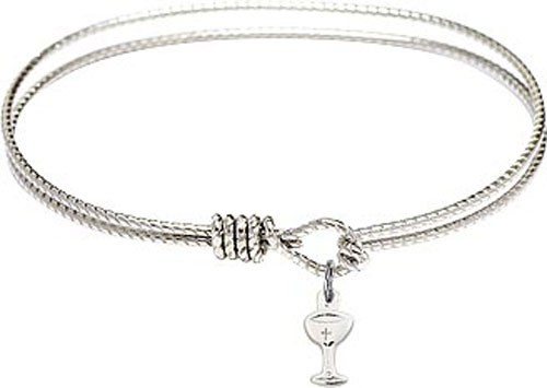Textured Bracelet in Silver or Gold - Chalice Charm - Silver