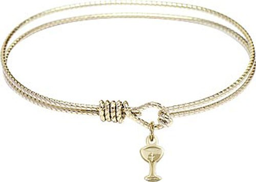 Textured Bracelet in Silver or Gold - Chalice Charm - Gold