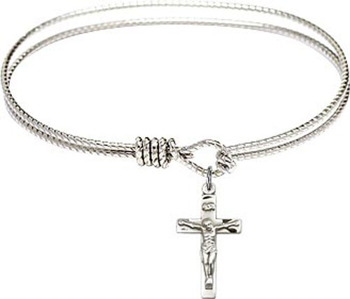 Textured Bracelet in Silver or Gold - Crucifix Charm - Silver