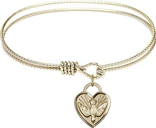 Textured Bracelet in Silver or Gold - Heart Confirmation Charm - Gold