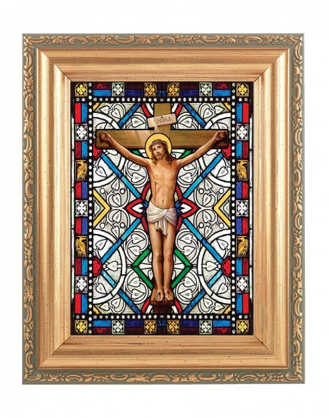 The Crucifixion Gold Frame Stained Glass Effect - Full Color