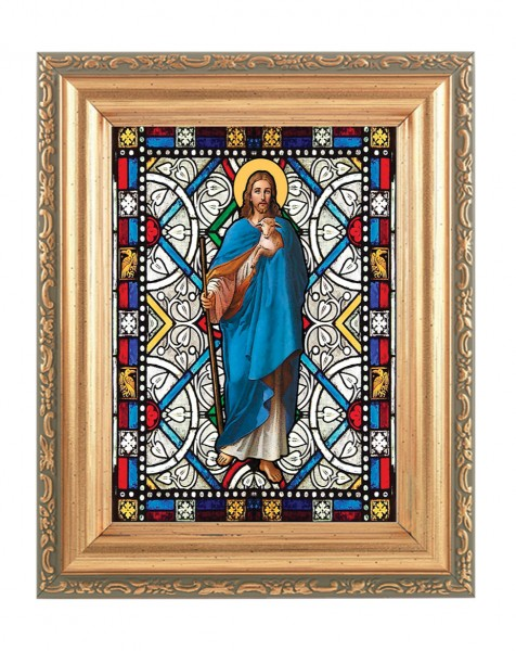 The Good Shepherd Gold Frame Stained Glass Effect - Full Color