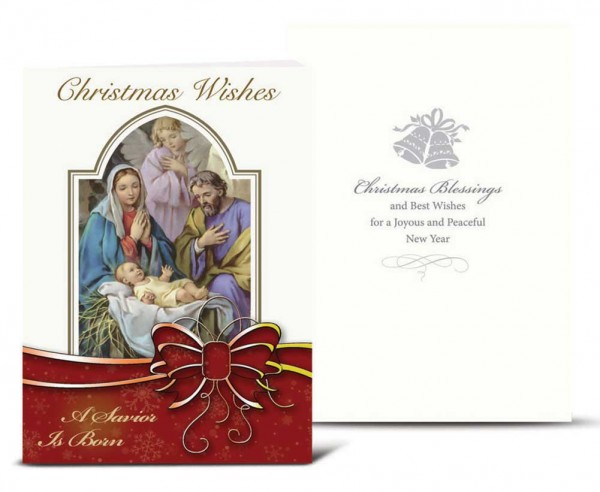 The holy family with red bow christmas card set m4hsunfo