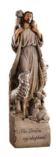 The Lord Is My Shepherd 12 Inch High Statue - Full Color