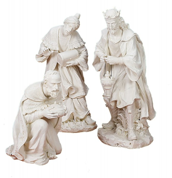 "Three Kings Figures for Nativity Set  - 39.5""H - White"