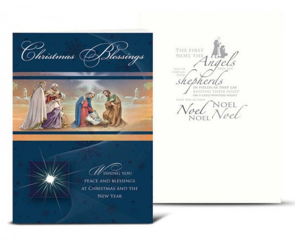 Three Kings with Holy Family Christmas Card Set - Full Color