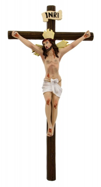 Timber Styled Hand Painted Wall Crucifix - 13 Inches - Multi-Color