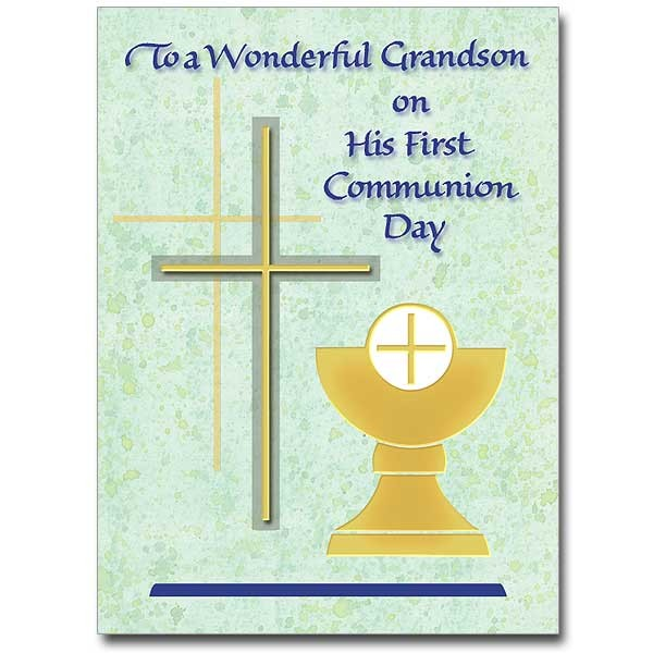 To a Wonderful Grandson on His First Communion Day - Blue