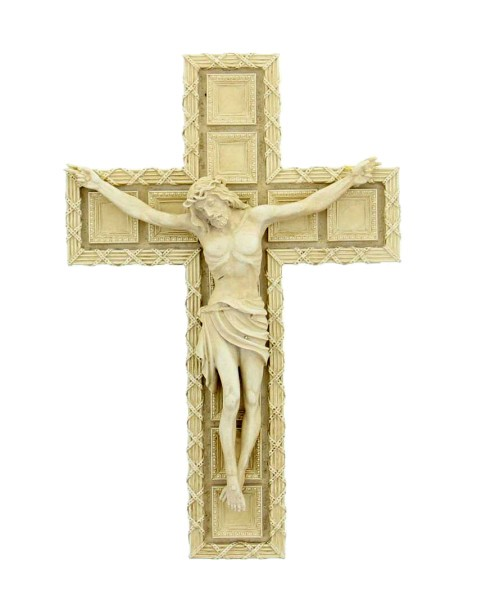 "Tomaso Wall Crucifix, Resin, 7 1/2""H - Antique White Finish"