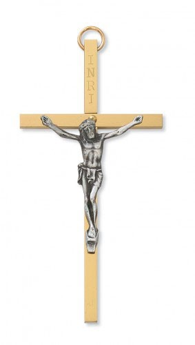 Two-tone Metal Crucifix, 4 inch - Two-Tone