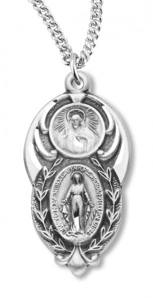 Unique Sacred Heart and Miraculous Pendant - Sterling Silver