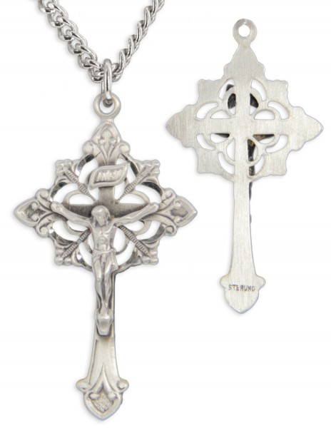 Unisex Cut Out Crucifix Fleur-de-lis Points - Sterling Silver