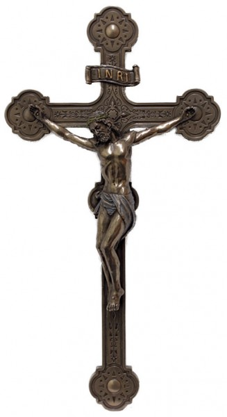 Veronese Wall Crucifix, Bronzed Resin - 14 Inches - Bronze