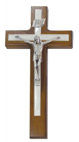 "Wall Crucifix with White Pearlized Epoxy Overlay and Pewter Corpus 10"" - Brown"