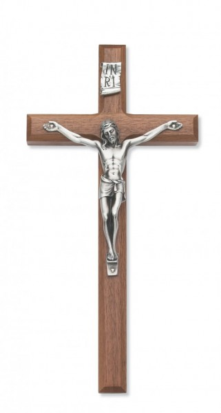 Walnut Wall Crucifix with Beveled Edge Silver-tone Corpus 10 Inch - Silver