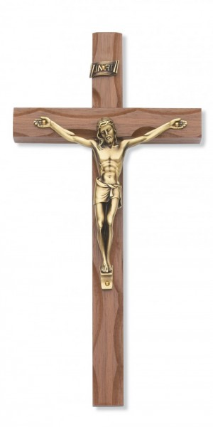 Carved Walnut Wood Wall Crucifix 10 inch - Gold