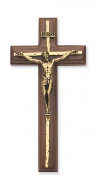 Carved Brass Inlay Wall Crucifix 10 inch - Gold