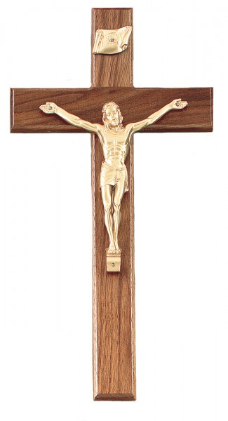 Square Edge Walnut Crucifix 15 Inch