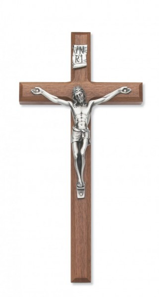 8 Inch Wall Crucifix in Walnut with Beveled Edge - Silver