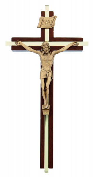 "Walnut Crucifix with Gold Metal Inlay - 8"" - Brown 