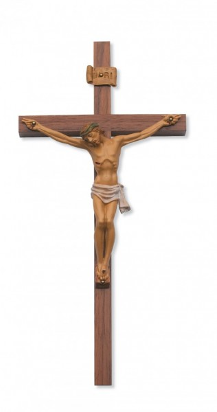 Walnut Wall Cross with Italian Hand Painted Corpus 12 Inch  - Multi-Color