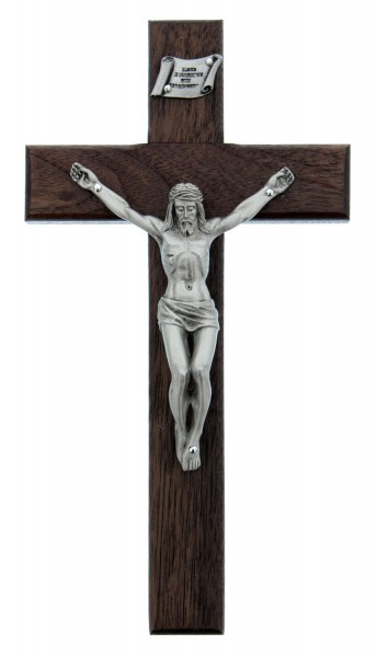 "Walnut Crucifix with Silver Antique Corpus - 8"" - Brown 