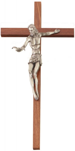 Walnut Gift of The Spirit Wall Crucifix, 10.5 Pewter Finish Resin Corpus 22 - Brown