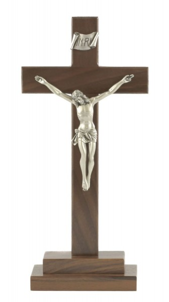 "Walnut Standing Wall Crucifix, 5 Antique Pewter Finish Corpus 13"" - Brown"