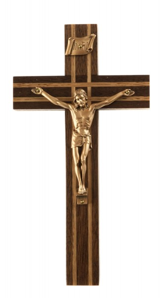 "Walnut Wall Crucifix with Double Lined Oak Inlay and Antique Gold Finish Corpus 8"" - Brown"