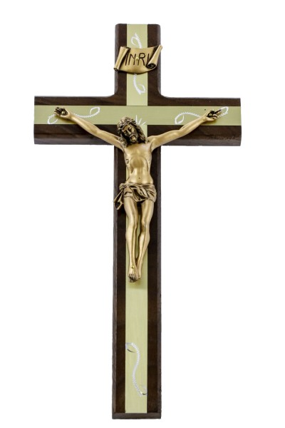 "Walnut Wall Crucifix with Engraved Gold Metal Inlay 12"" - Brown"