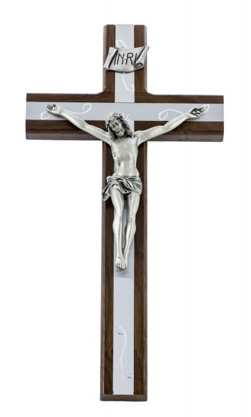 "Walnut Wall Crucifix with Engraved Silver Metal Inlay 12"" - Brown"
