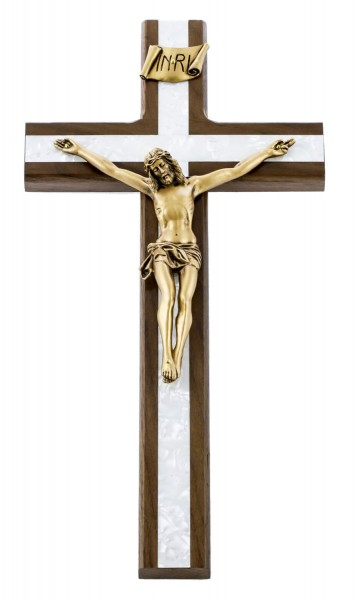 "Walnut Wall Crucifix with Faux Mother of Pearl Inlay 12"" - Brown"
