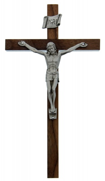 "Walnut Wood Crucifix with Silver Corpus - 8"" - Brown 