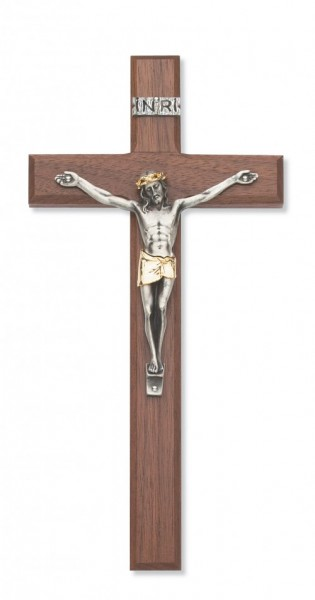 "Walnut Wood Crucifix with Two Tone Corpus - 10""H - Brown"